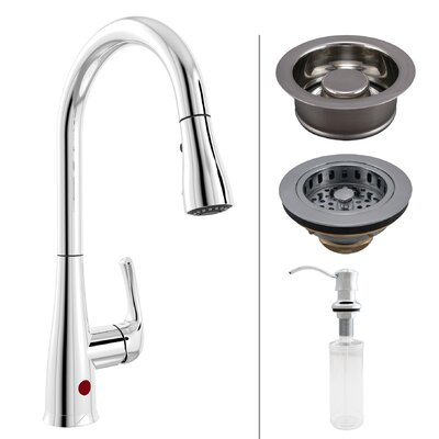 Essentials Single Handle Touchless Kitchen Faucet with Strainer and Soap Dispenser