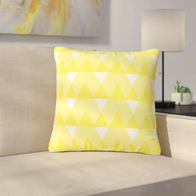 Jackie Rose Triangles Custard Outdoor Throw Pillow Color: Custard/White, Size: 16 H x 16 W x 5 D