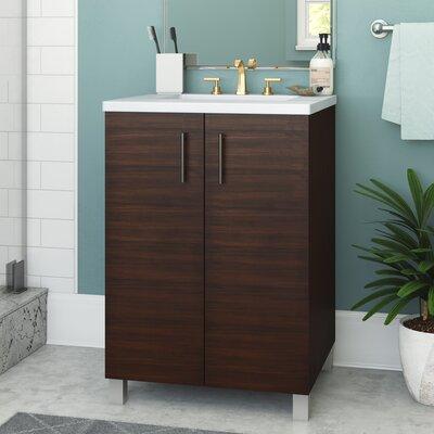 Cordie 24 Single American Walnut Bathroom Vanity Set Base Finish: American Walnut, Top Finish: Arctic Fall Quartz