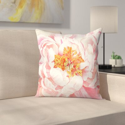 Large Peach Peony Throw Pillow Size: 18 x 18