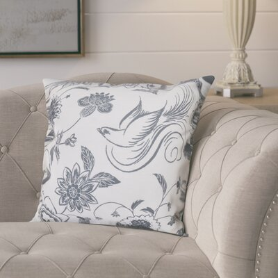 Cecilia Traditional Bird Floral Outdoor Throw Pillow Size: 20 H x 20 W, Color: Gray