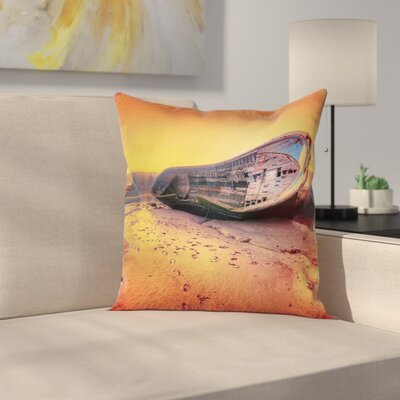 Beach Rusty Abandoned Boat Square Pillow Cover Size: 24