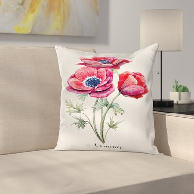 Anemone Vintage Bouquet Square Cushion Pillow Cover Size: 18 x 18