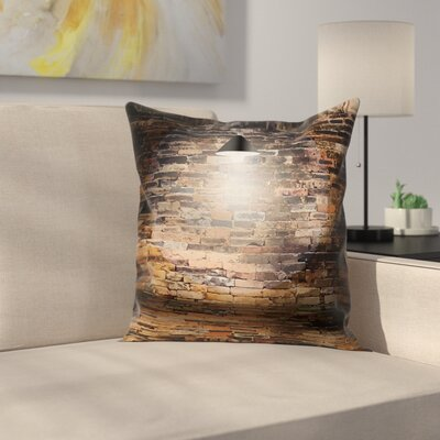 Cracked City Life Image Brick Square Pillow Cover Size: 18 x 18