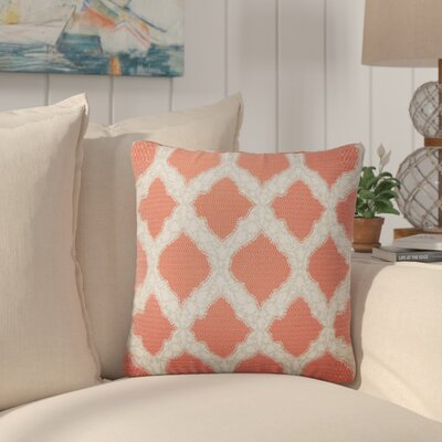 J Geometric Cotton Throw Pillow Color: Coral