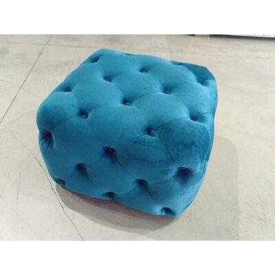 Richborough Square Ottoman Upholstery: Blue Velvet