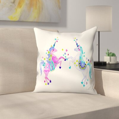 Pastel Unicorns Throw Pillow Size: 16 x 16