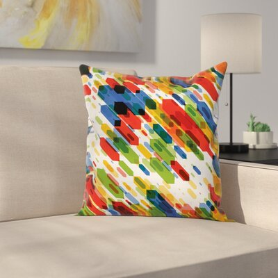 Art Diagonal Geometric Vibrant Square Pillow Cover Size: 18 x 18