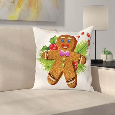Gingerbread Man Christmas Icons Square Pillow Cover Size: 24 x 24
