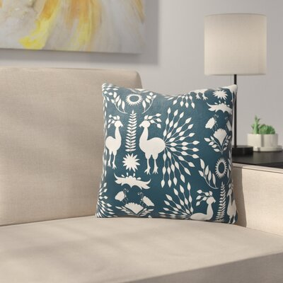 Kaivhon Outdoor Throw Pillow Size: 18 x 18, Color: Teal/ Blue