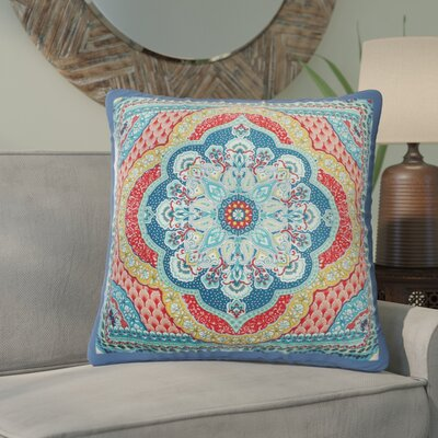 Lowellville Scallop Sunrise Reversible 100% Cotton Throw Pillow Color: Navy