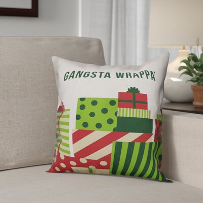 Gangsta Wrappa Polyester Throw Pillow Type: Pillow Cover