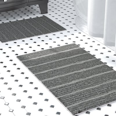 Bellevue 2-Piece Microfiber Bath Rug Set Color: Gray