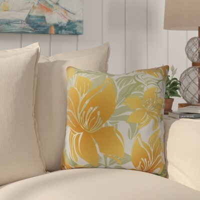Costigan Tree Mallow Floral Print Outdoor Throw Pillow Size: 20 H x 20 W x 3 D, Color: Gold