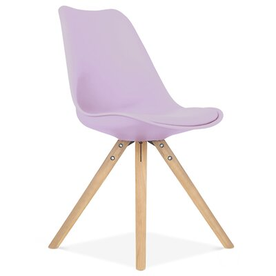 Bridgeyate Side Upholstered Dining Chair Upholstery Color: Lavender, Leg Color: Natural