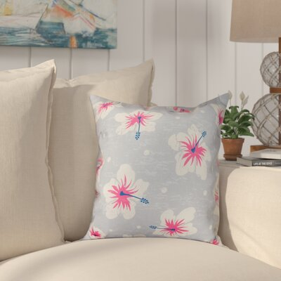 Pembrook Hibiscus Blooms Floral Throw Pillow Size: 16 H x 16 W, Color: Gray