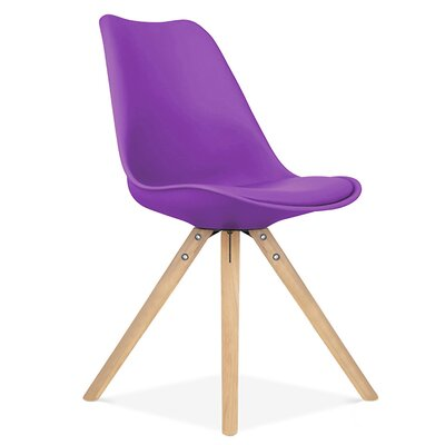 Bridgeyate Side Upholstered Dining Chair Upholstery Color: Purple, Leg Color: Natural
