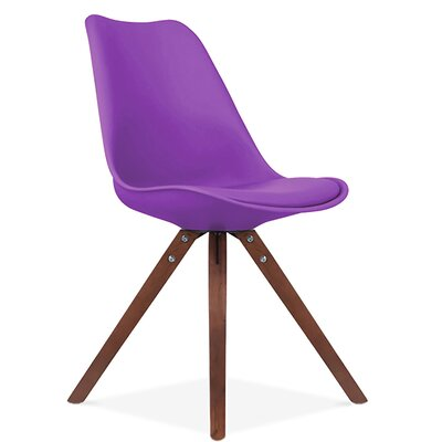 Bridgeyate Side Upholstered Dining Chair Upholstery Color: Purple, Leg Color: Walnut