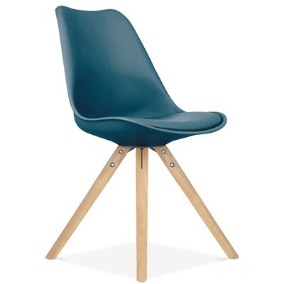 Bridgeyate Side Upholstered Dining Chair Upholstery Color: Deep Teal, Leg Color: Natural
