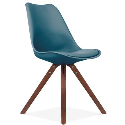 Bridgeyate Side Upholstered Dining Chair Upholstery Color: Deep Teal, Leg Color: Walnut