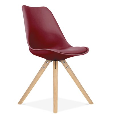 Bridgeyate Side Upholstered Dining Chair Upholstery Color: Wine Red, Leg Color: Natural
