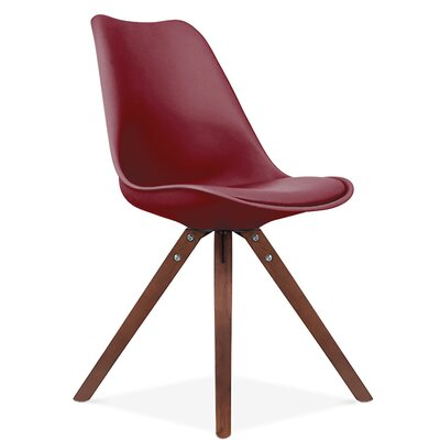 Bridgeyate Side Upholstered Dining Chair Upholstery Color: Wine Red, Leg Color: Walnut