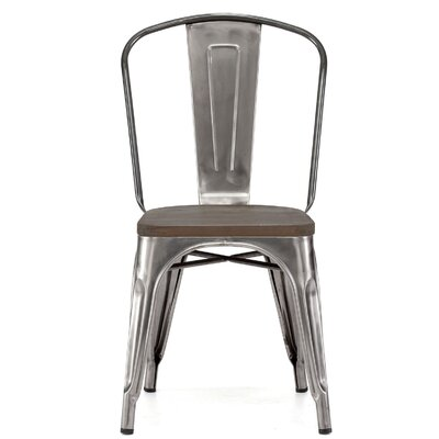 Despres Glossy Elm Wood Stackable Dining Chair Color: Gunmetal