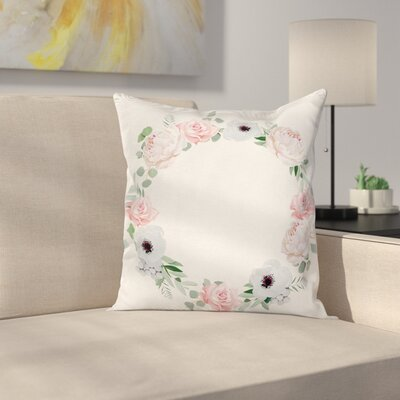 Anemone Delicate Leaves Square Cushion Pillow Cover Size: 24 x 24