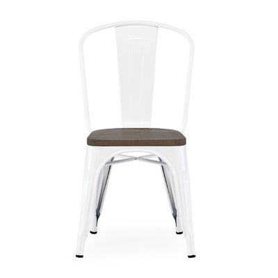 Despres Glossy Elm Wood Stackable Dining Chair Color: White