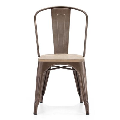 Despres Glossy Elm Wood Stackable Dining Chair Color: Light Rustic