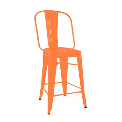 Despres Steel Counter 24 Bar Stool Color: Orange