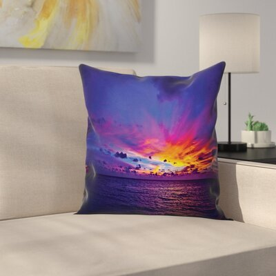Nautical Dream Sunset Magenta Square Pillow Cover Size: 24 x 24