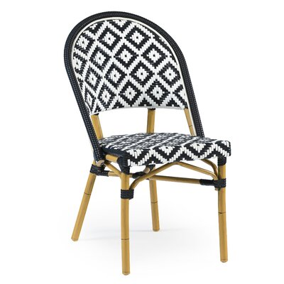 Dipietro Bamboo Stackable Dining Chair Upholstery Color: Black Natural