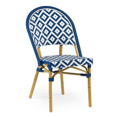 Dipietro Bamboo Stackable Dining Chair Upholstery Color: Blue Natural