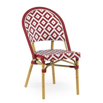 Dipietro Bamboo Stackable Dining Chair Upholstery Color: Red Natural