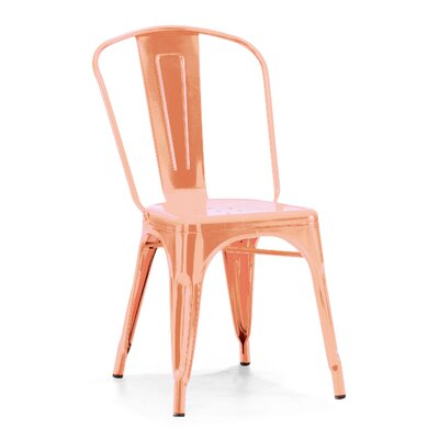 Despres Glossy Stackable Dining Chair Color: Metallic Rose Gold