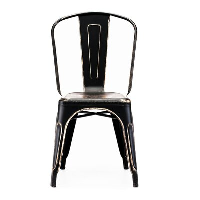 Despres Glossy Stackable Dining Chair Color: Black/Gold