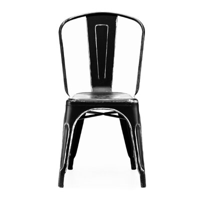 Despres Glossy Stackable Dining Chair Color: Black/Silver