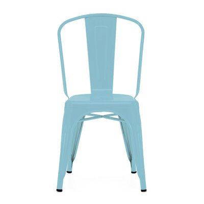 Despres Glossy Stackable Dining Chair Color: Matte Cyan