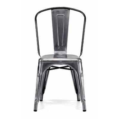 Despres Glossy Stackable Dining Chair Color: Dark Gunmetal