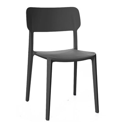 Gourley Modern Stackable Dining Chair Color: Black Gray