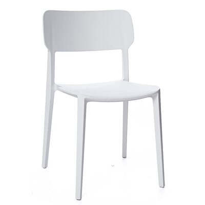 Gourley Modern Stackable Dining Chair Color: White