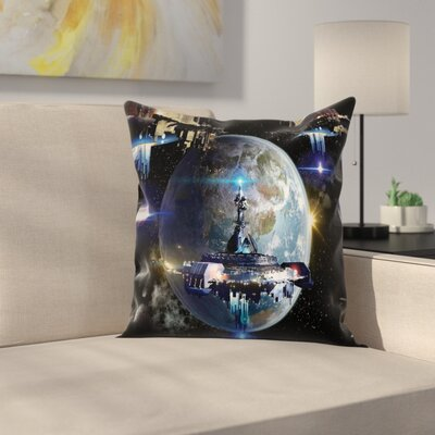Nebula Alien Spaceship Outer Square Pillow Cover Size: 24 x 24