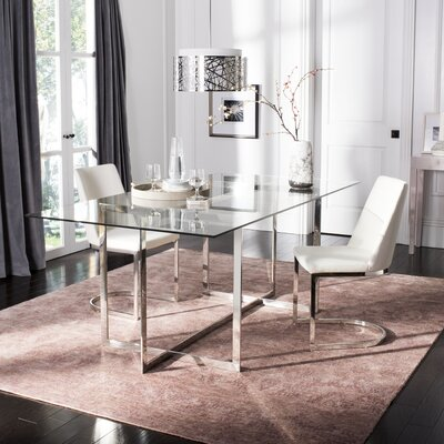 Petrick Polished Glass Top Dining Table