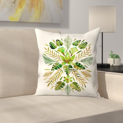 Cat Coquillette Tropical Symmetry Throw Pillow Color: Green, Size: 14 x 14