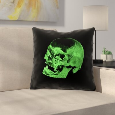 Skull Outdoor Throw Pillow Color: Green/Black, Size: 18 x 18
