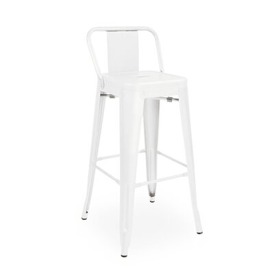 Despres Low Back Steel Counter 26 Bar Stool Color: White