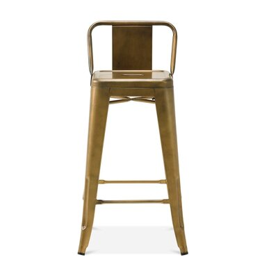 Despres Low Back Steel Counter 26 Bar Stool Color: Brass