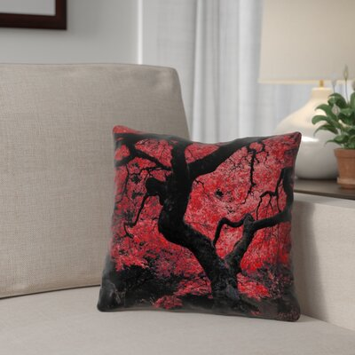 Ghost Train Japanese Maple Tree 100% Cotton Throw Pillow Color: Red, Size: 16 x 16