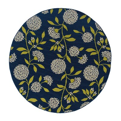 Floral Surry Blue Indoor/Outdoor Area Rug Rug Size: Round 710